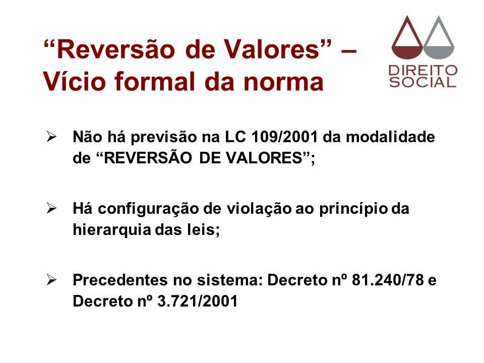 Reversão de Valores – Vício formal da norma Não há previsão na LC 109/2001 da modalidade de REVERSÃO DE VALORES; Há configuração de violação ao princí