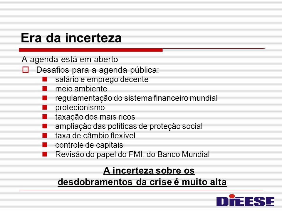 Era da incerteza A agenda está em aberto Desafios para a agenda pública: salário e emprego decente meio ambiente regulamentação do sistema financeiro