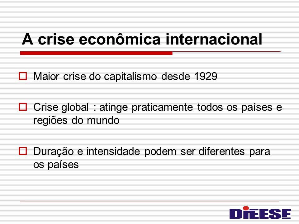 A crise econômica internacional Maior crise do capitalismo desde 1929 Crise global : atinge praticamente todos os países e regiões do mundo Duração e