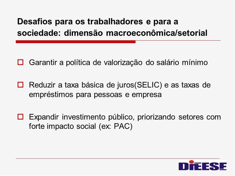 Desafios para os trabalhadores e para a sociedade: dimensão macroeconômica/setorial Garantir a política de valorização do salário mínimo Reduzir a tax