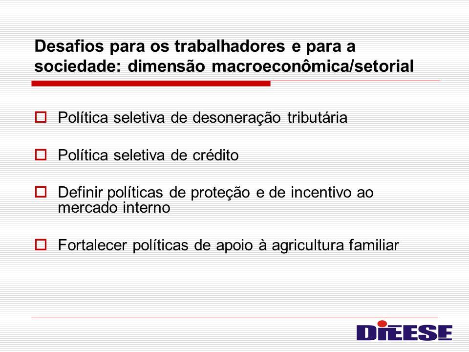 Desafios para os trabalhadores e para a sociedade: dimensão macroeconômica/setorial Política seletiva de desoneração tributária Política seletiva de c