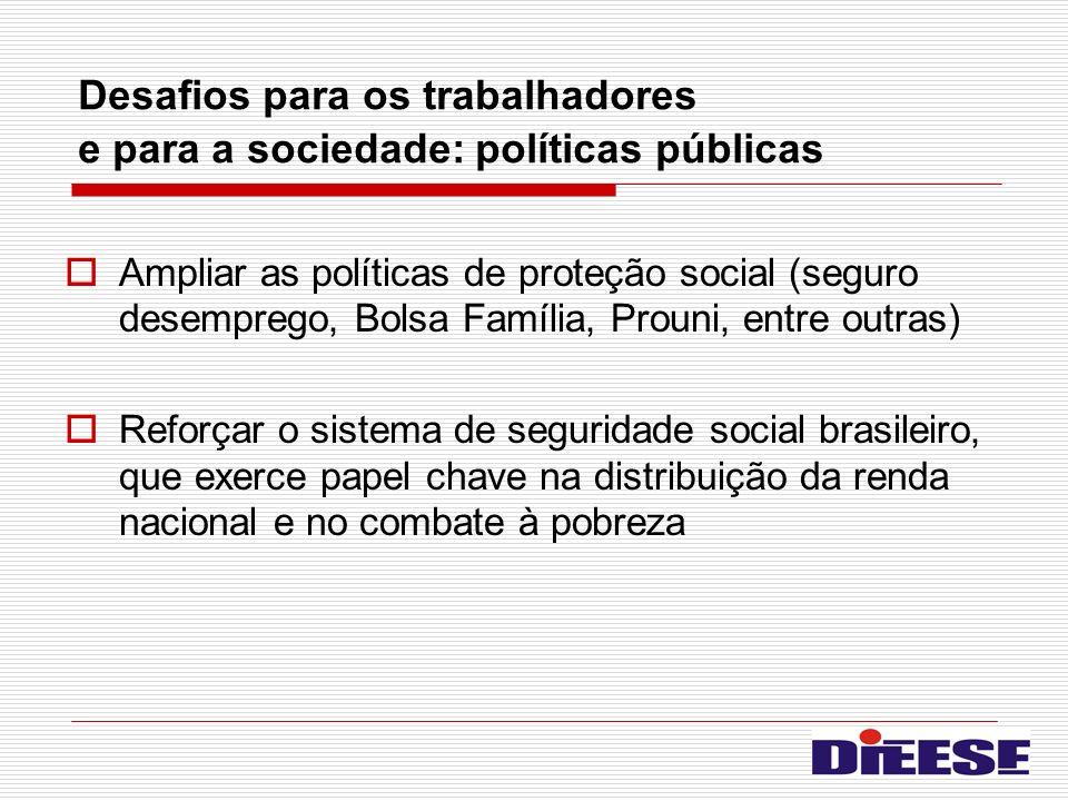 Desafios para os trabalhadores e para a sociedade: políticas públicas Ampliar as políticas de proteção social (seguro desemprego, Bolsa Família, Proun