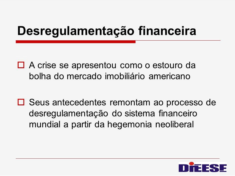 Desregulamentação financeira A crise se apresentou como o estouro da bolha do mercado imobiliário americano Seus antecedentes remontam ao processo de
