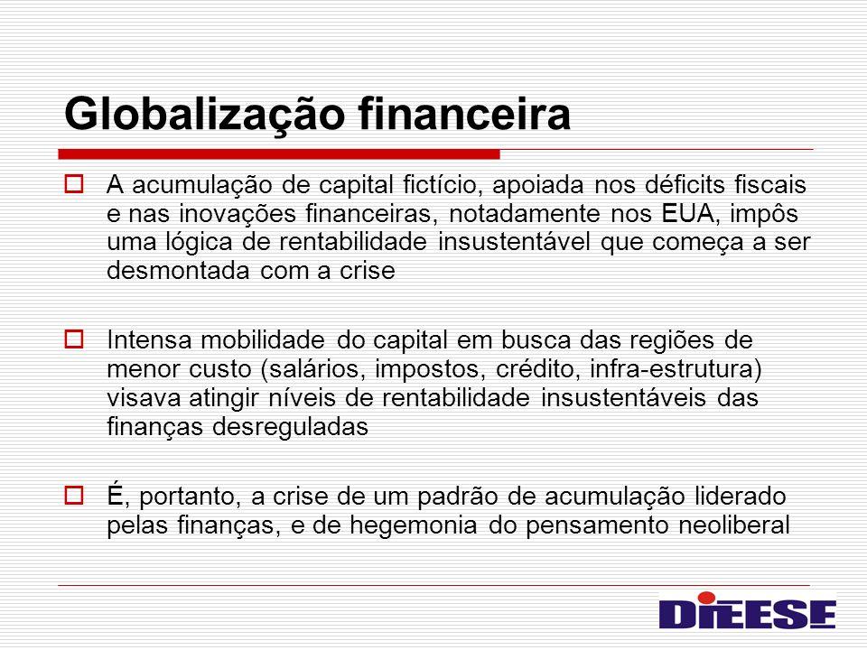 Globalização financeira A acumulação de capital fictício, apoiada nos déficits fiscais e nas inovações financeiras, notadamente nos EUA, impôs uma lóg