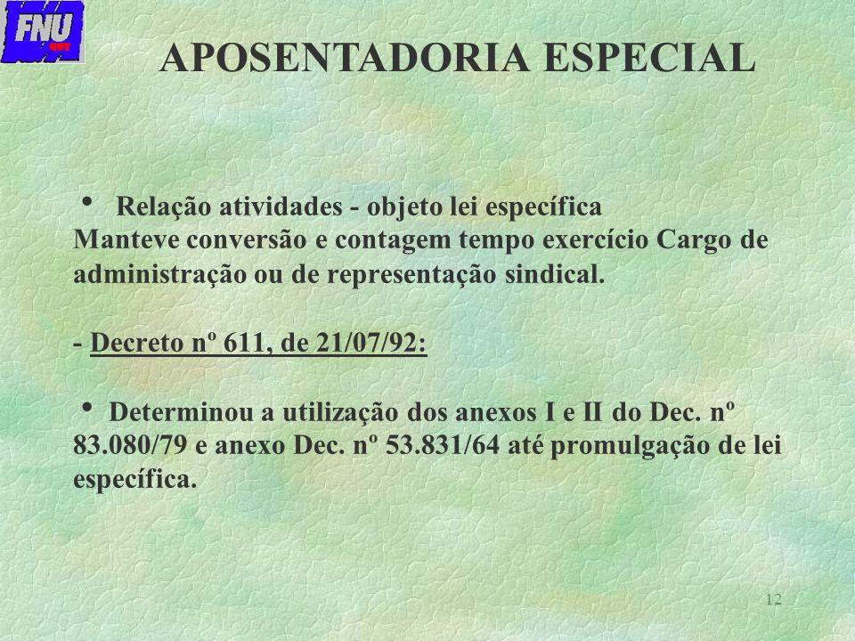 12 Relação atividades - objeto lei específica Manteve conversão e contagem tempo exercício Cargo de administração ou de representação sindical.