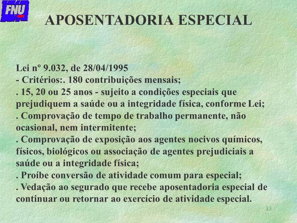 13 Lei nº 9.032, de 28/04/1995 - Critérios:.180 contribuições mensais;.