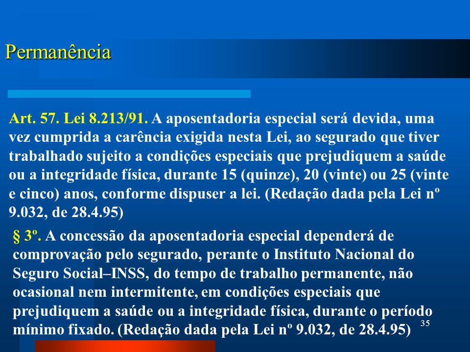 35 Permanência Art.57. Lei 8.213/91.