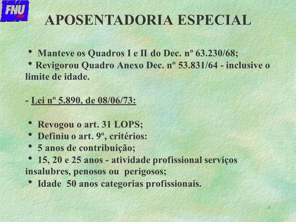 9 Manteve os Quadros I e II do Dec.nº 63.230/68; Revigorou Quadro Anexo Dec.
