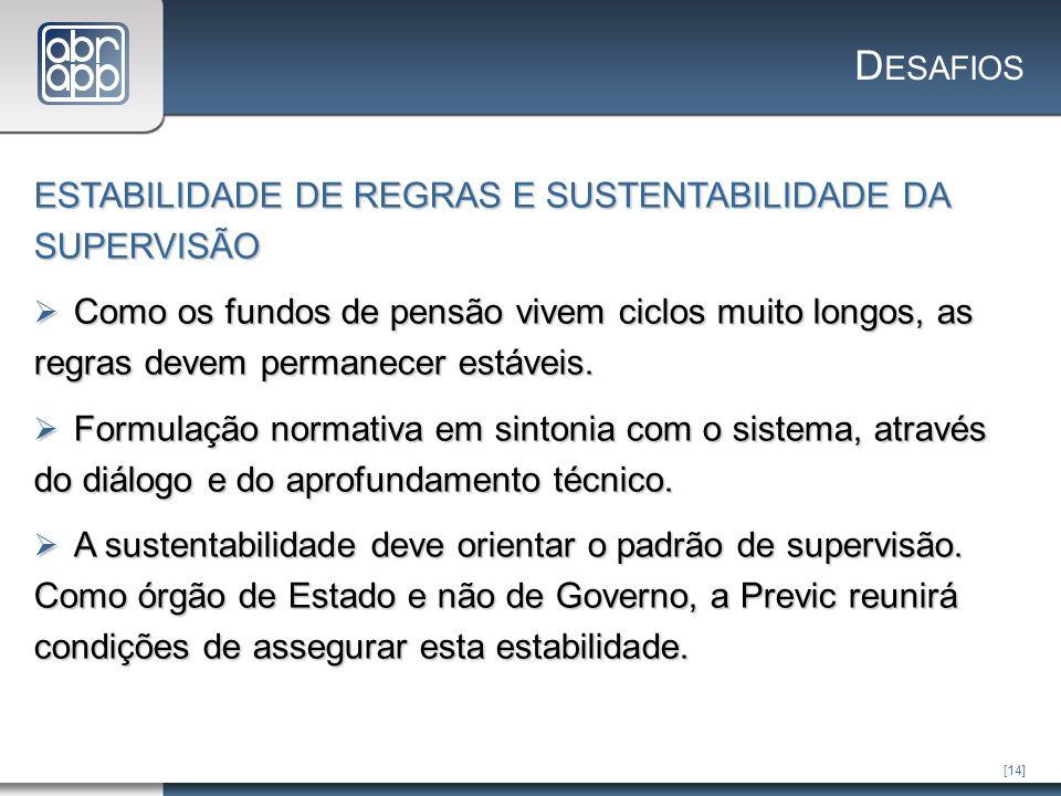 [14] D ESAFIOS ESTABILIDADE DE REGRAS E SUSTENTABILIDADE DA SUPERVISÃO Como os fundos de pensão vivem ciclos muito longos, as regras devem permanecer estáveis.