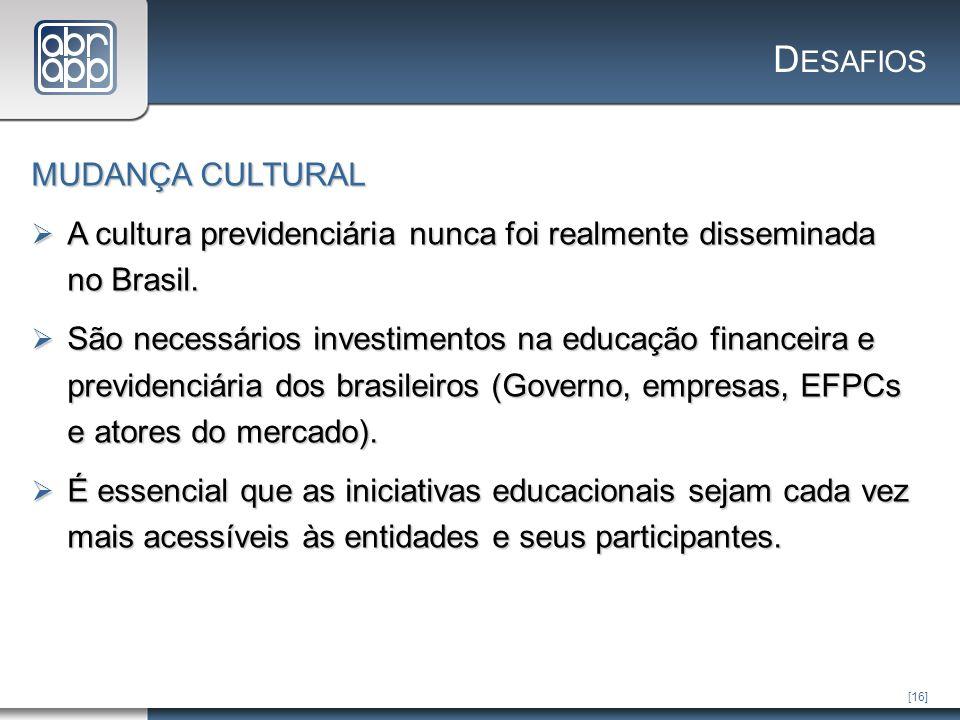 [16] D ESAFIOS MUDANÇA CULTURAL A cultura previdenciária nunca foi realmente disseminada no Brasil.