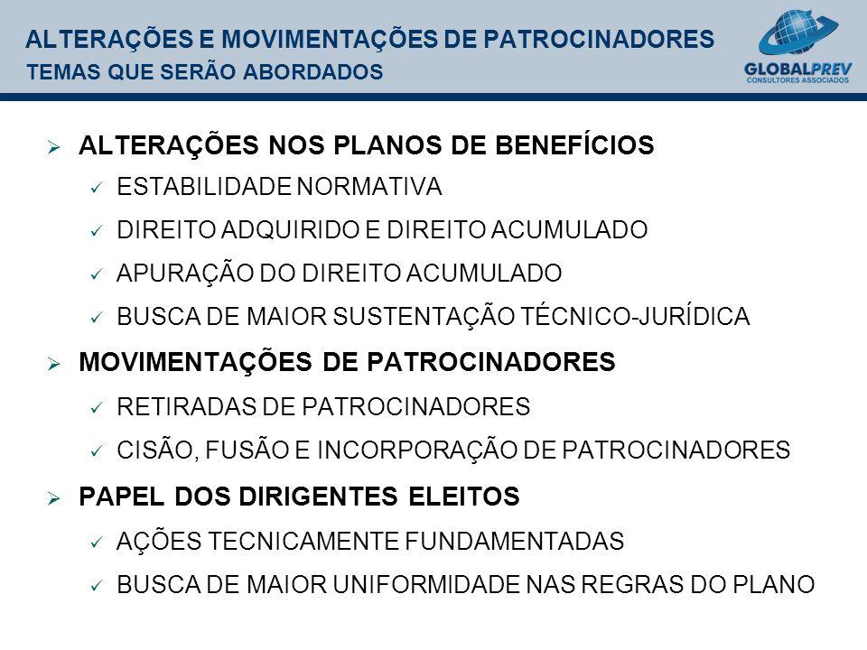 ALTERAÇÕES E MOVIMENTAÇÕES DE PATROCINADORES TEMAS QUE SERÃO ABORDADOS ALTERAÇÕES NOS PLANOS DE BENEFÍCIOS ESTABILIDADE NORMATIVA DIREITO ADQUIRIDO E DIREITO ACUMULADO APURAÇÃO DO DIREITO ACUMULADO BUSCA DE MAIOR SUSTENTAÇÃO TÉCNICO-JURÍDICA MOVIMENTAÇÕES DE PATROCINADORES RETIRADAS DE PATROCINADORES CISÃO, FUSÃO E INCORPORAÇÃO DE PATROCINADORES PAPEL DOS DIRIGENTES ELEITOS AÇÕES TECNICAMENTE FUNDAMENTADAS BUSCA DE MAIOR UNIFORMIDADE NAS REGRAS DO PLANO