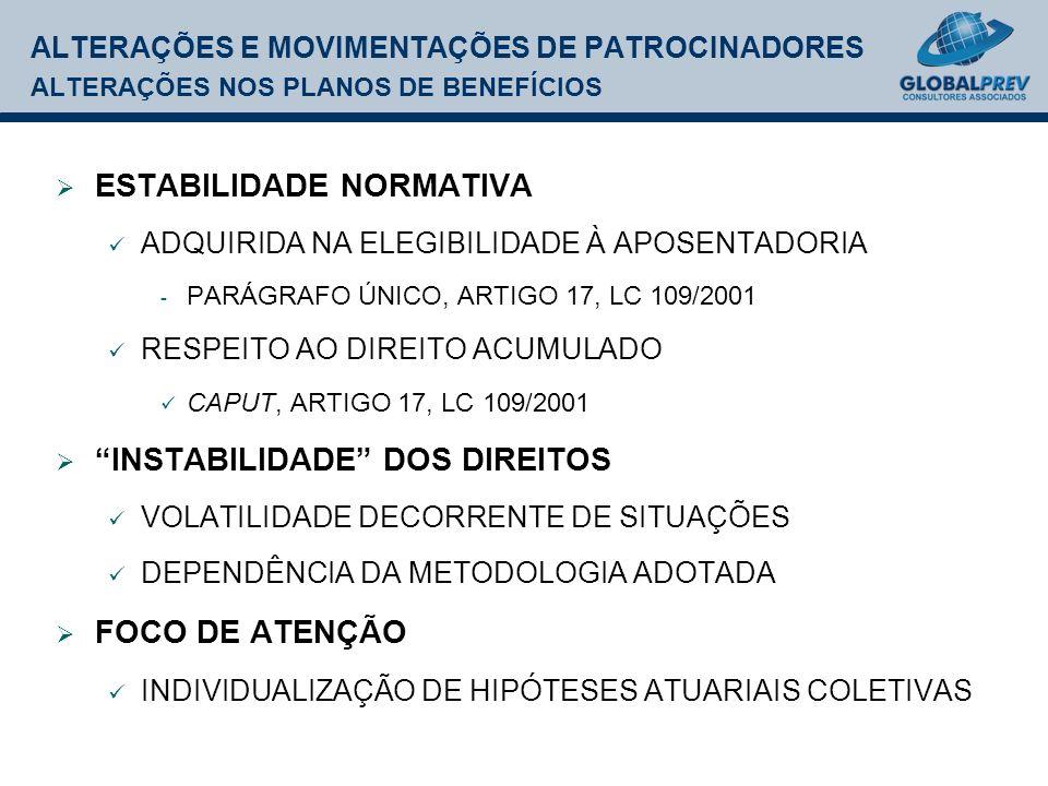 ALTERAÇÕES E MOVIMENTAÇÕES DE PATROCINADORES ALTERAÇÕES NOS PLANOS DE BENEFÍCIOS ESTABILIDADE NORMATIVA ADQUIRIDA NA ELEGIBILIDADE À APOSENTADORIA - PARÁGRAFO ÚNICO, ARTIGO 17, LC 109/2001 RESPEITO AO DIREITO ACUMULADO CAPUT, ARTIGO 17, LC 109/2001 INSTABILIDADE DOS DIREITOS VOLATILIDADE DECORRENTE DE SITUAÇÕES DEPENDÊNCIA DA METODOLOGIA ADOTADA FOCO DE ATENÇÃO INDIVIDUALIZAÇÃO DE HIPÓTESES ATUARIAIS COLETIVAS