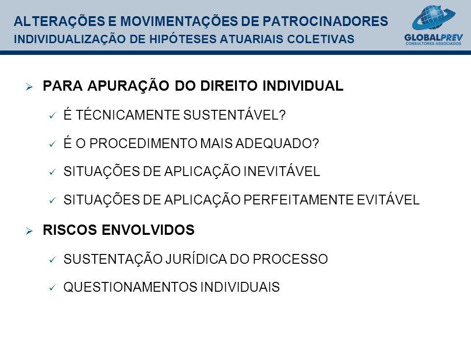 ALTERAÇÕES E MOVIMENTAÇÕES DE PATROCINADORES INDIVIDUALIZAÇÃO DE HIPÓTESES ATUARIAIS COLETIVAS PARA APURAÇÃO DO DIREITO INDIVIDUAL É TÉCNICAMENTE SUSTENTÁVEL.