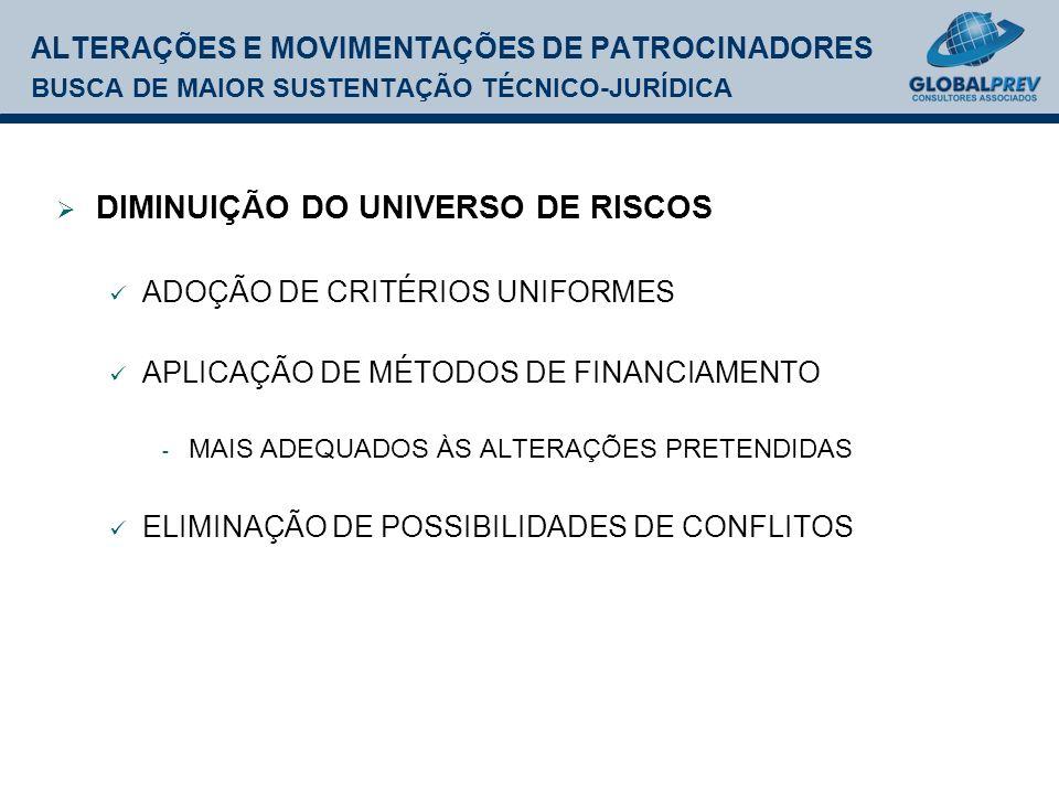 ALTERAÇÕES E MOVIMENTAÇÕES DE PATROCINADORES BUSCA DE MAIOR SUSTENTAÇÃO TÉCNICO-JURÍDICA DIMINUIÇÃO DO UNIVERSO DE RISCOS ADOÇÃO DE CRITÉRIOS UNIFORMES APLICAÇÃO DE MÉTODOS DE FINANCIAMENTO - MAIS ADEQUADOS ÀS ALTERAÇÕES PRETENDIDAS ELIMINAÇÃO DE POSSIBILIDADES DE CONFLITOS