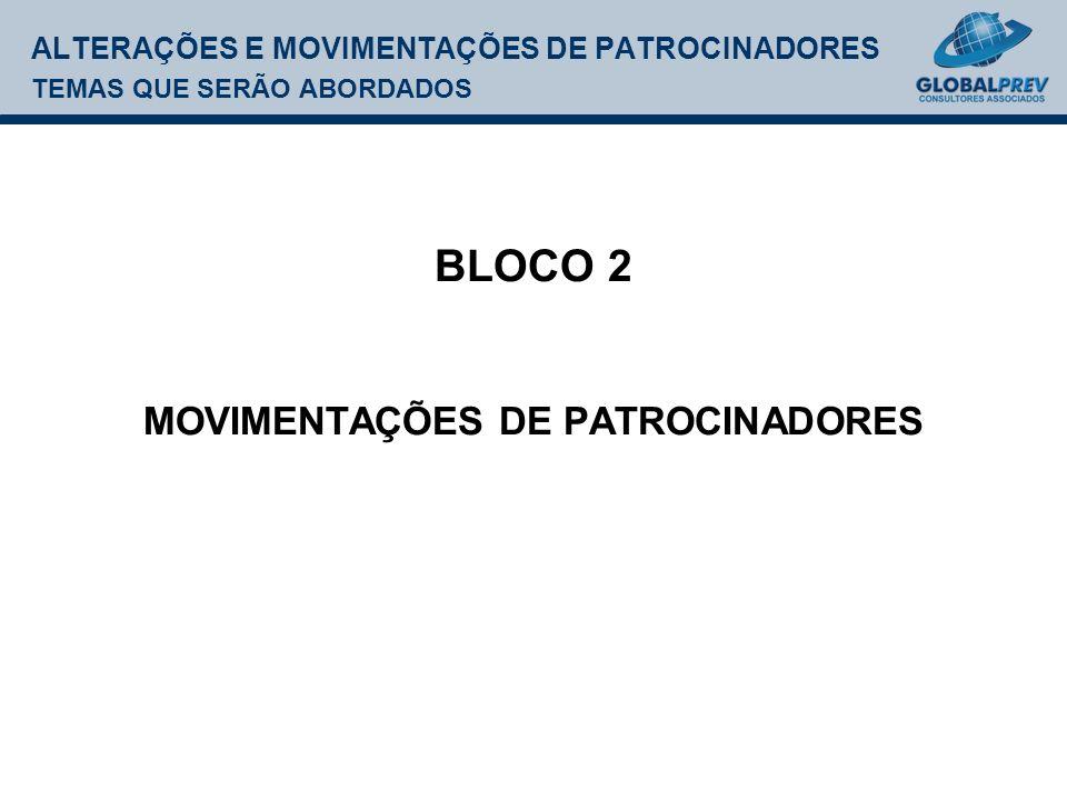 ALTERAÇÕES E MOVIMENTAÇÕES DE PATROCINADORES TEMAS QUE SERÃO ABORDADOS BLOCO 2 MOVIMENTAÇÕES DE PATROCINADORES