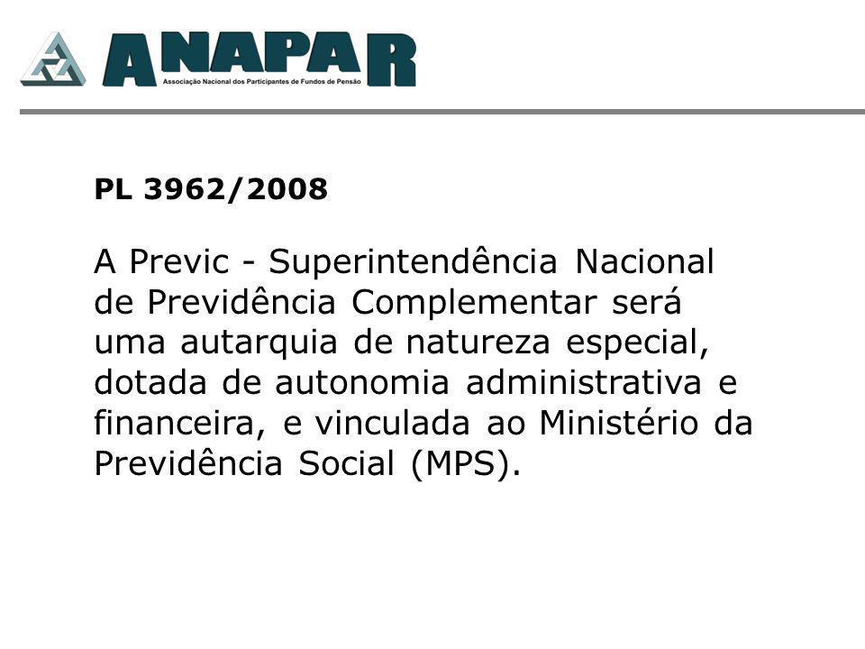 PL 3962/2008 A Previc - Superintendência Nacional de Previdência Complementar será uma autarquia de natureza especial, dotada de autonomia administrativa e financeira, e vinculada ao Ministério da Previdência Social (MPS).