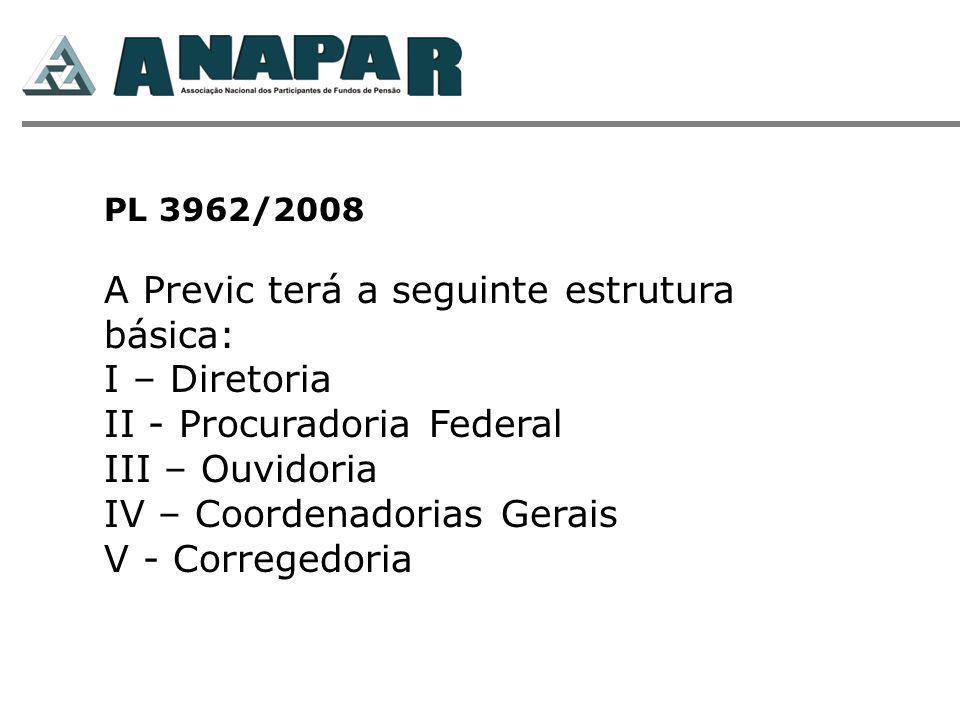 PL 3962/2008 A Previc terá a seguinte estrutura básica: I – Diretoria II - Procuradoria Federal III – Ouvidoria IV – Coordenadorias Gerais V - Corregedoria