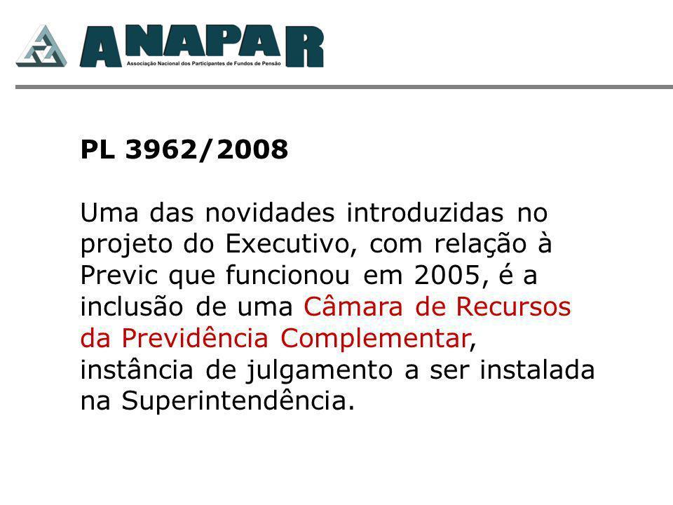 PL 3962/2008 Uma das novidades introduzidas no projeto do Executivo, com relação à Previc que funcionou em 2005, é a inclusão de uma Câmara de Recurso