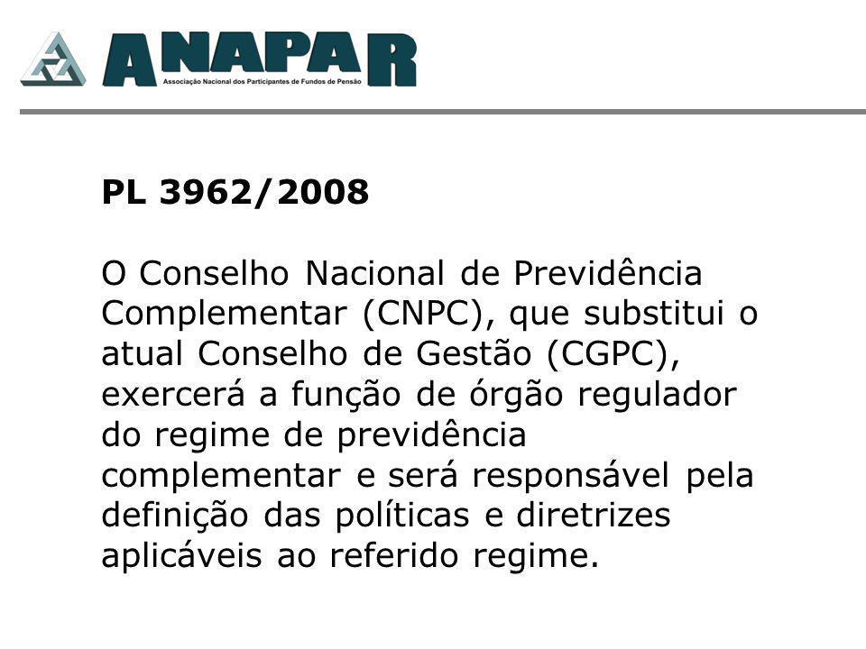 PL 3962/2008 O Conselho Nacional de Previdência Complementar (CNPC), que substitui o atual Conselho de Gestão (CGPC), exercerá a função de órgão regulador do regime de previdência complementar e será responsável pela definição das políticas e diretrizes aplicáveis ao referido regime.