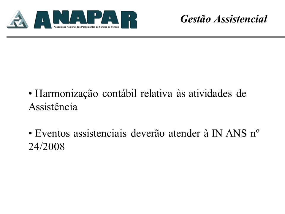 Gestão Assistencial Harmonização contábil relativa às atividades de Assistência Eventos assistenciais deverão atender à IN ANS nº 24/2008