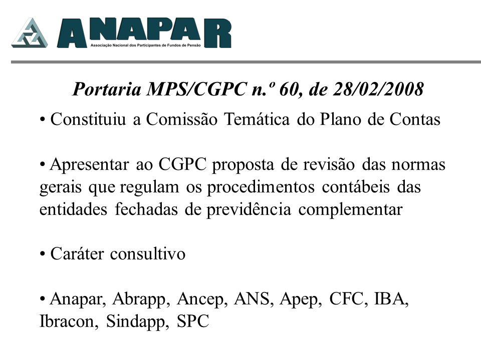 Portaria MPS/CGPC n.º 60, de 28/02/2008 Constituiu a Comissão Temática do Plano de Contas Apresentar ao CGPC proposta de revisão das normas gerais que
