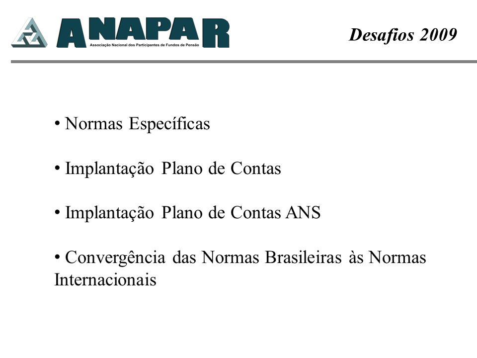 Normas Específicas Implantação Plano de Contas Implantação Plano de Contas ANS Convergência das Normas Brasileiras às Normas Internacionais Desafios 2