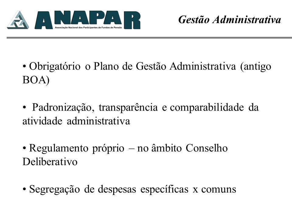 Gestão Administrativa Obrigatório o Plano de Gestão Administrativa (antigo BOA) Padronização, transparência e comparabilidade da atividade administrat