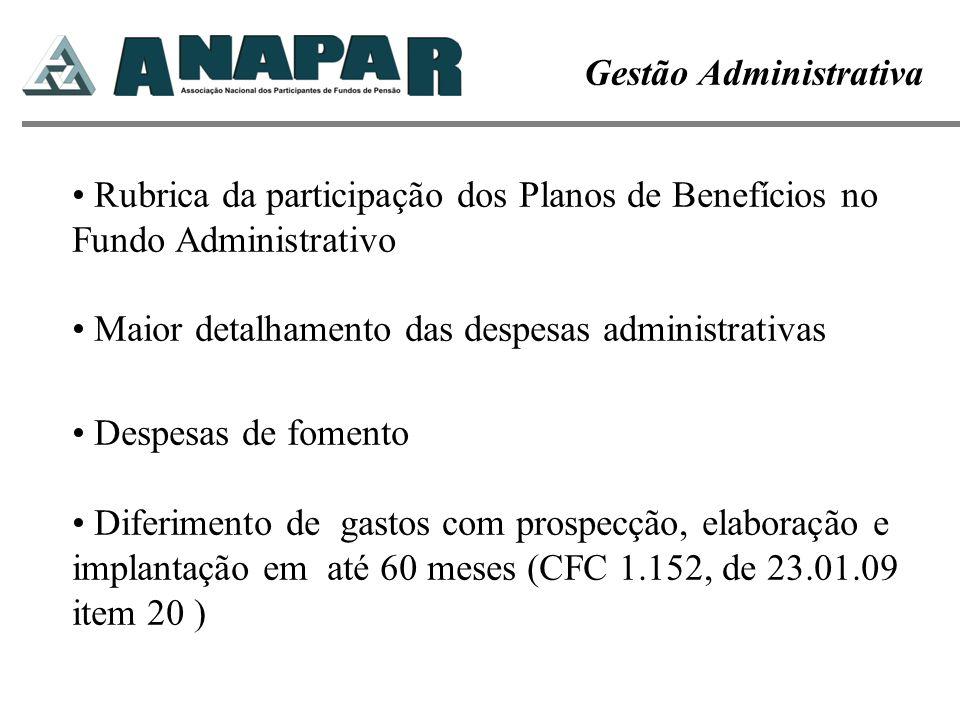 Gestão Administrativa Rubrica da participação dos Planos de Benefícios no Fundo Administrativo Maior detalhamento das despesas administrativas Despesa