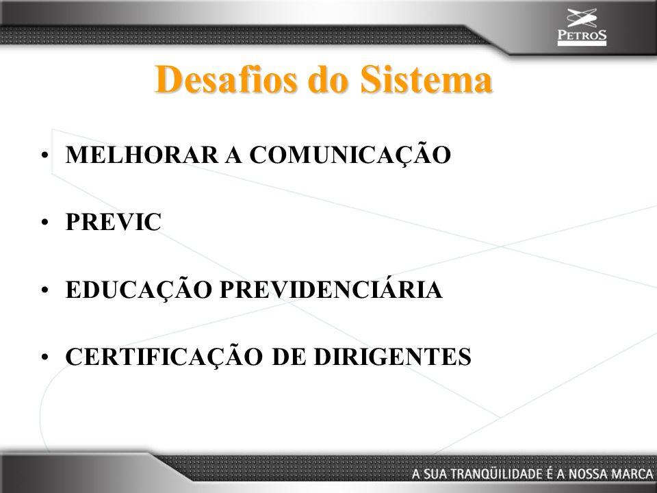 Desafios do Sistema MELHORAR A COMUNICAÇÃO PREVIC EDUCAÇÃO PREVIDENCIÁRIA CERTIFICAÇÃO DE DIRIGENTES