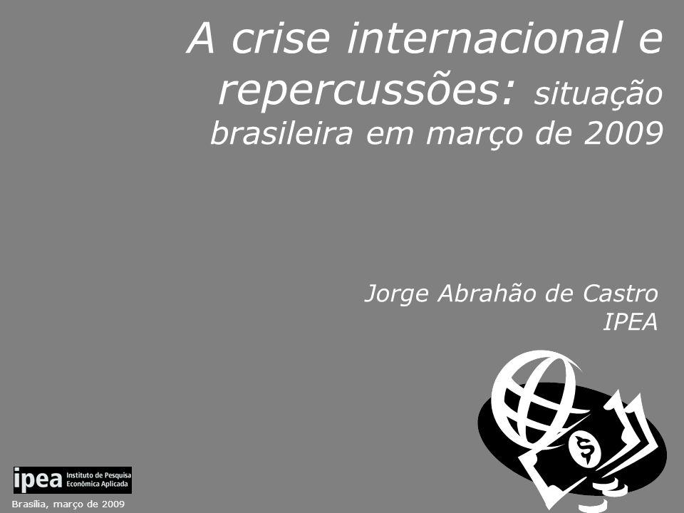 Brasília, março de 2009 A crise internacional e repercussões: situação brasileira em março de 2009 Jorge Abrahão de Castro IPEA