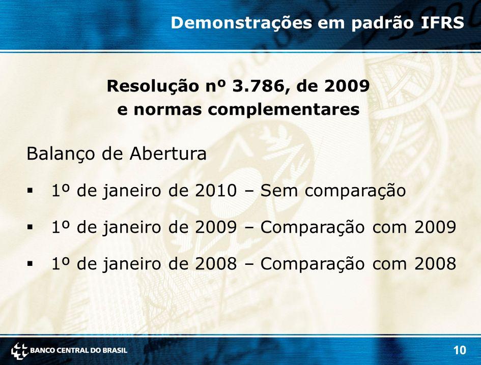 10 Balanço de Abertura 1º de janeiro de 2010 – Sem comparação 1º de janeiro de 2009 – Comparação com 2009 1º de janeiro de 2008 – Comparação com 2008