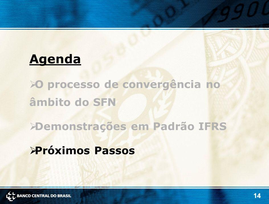 14 Agenda O processo de convergência no âmbito do SFN Demonstrações em Padrão IFRS Próximos Passos