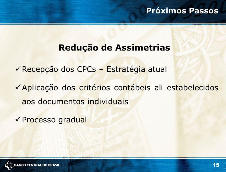 15 Recepção dos CPCs – Estratégia atual Aplicação dos critérios contábeis ali estabelecidos aos documentos individuais Processo gradual Redução de Ass