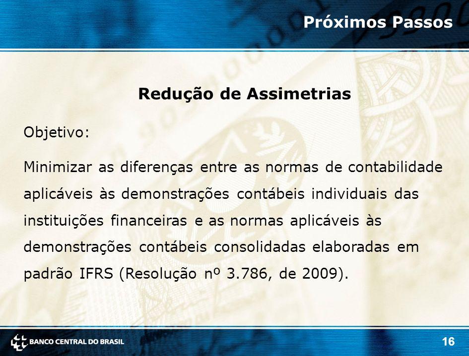 16 Objetivo: Minimizar as diferenças entre as normas de contabilidade aplicáveis às demonstrações contábeis individuais das instituições financeiras e