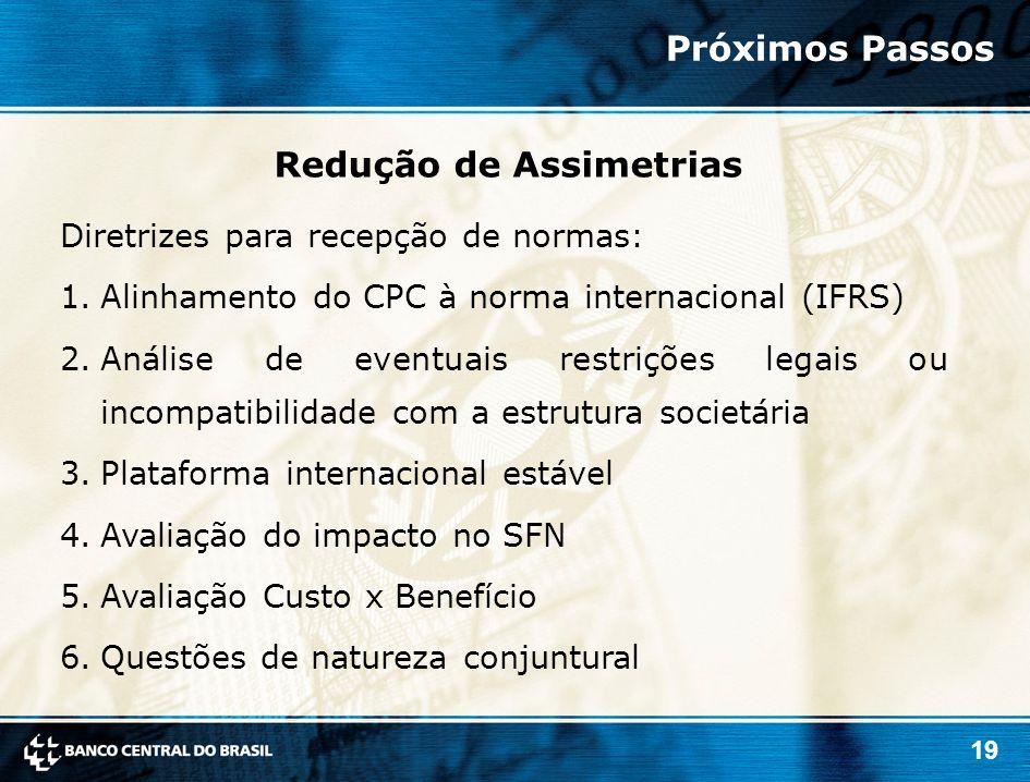 19 Diretrizes para recepção de normas: 1.Alinhamento do CPC à norma internacional (IFRS) 2.Análise de eventuais restrições legais ou incompatibilidade