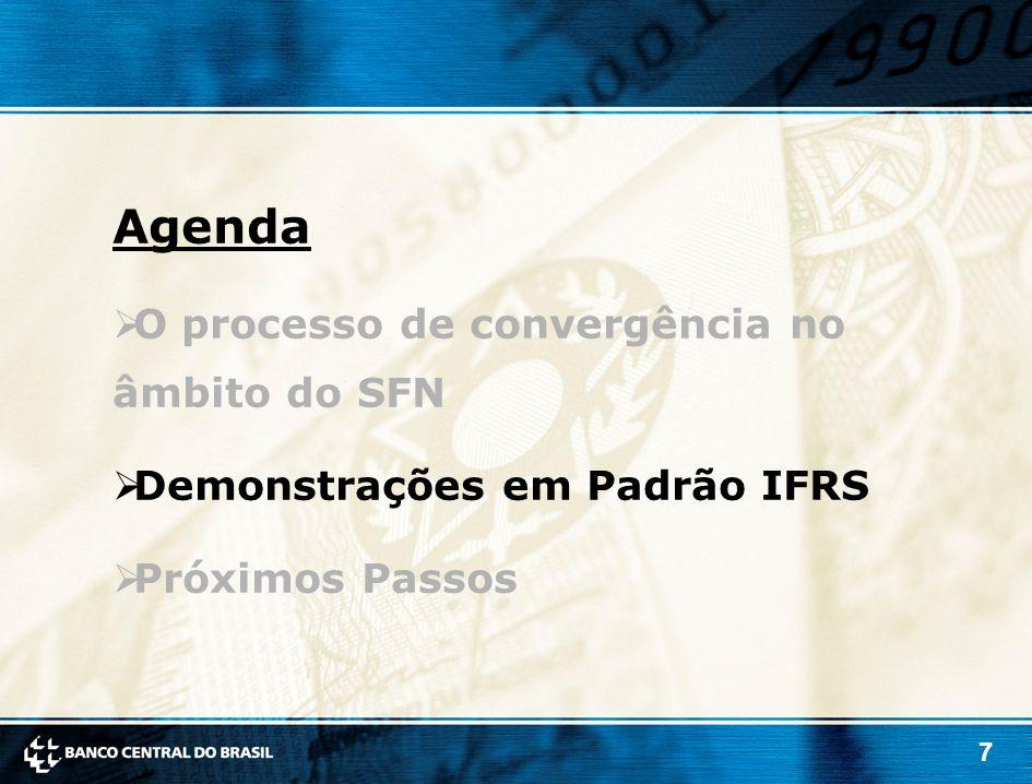 7 Agenda O processo de convergência no âmbito do SFN Demonstrações em Padrão IFRS Próximos Passos