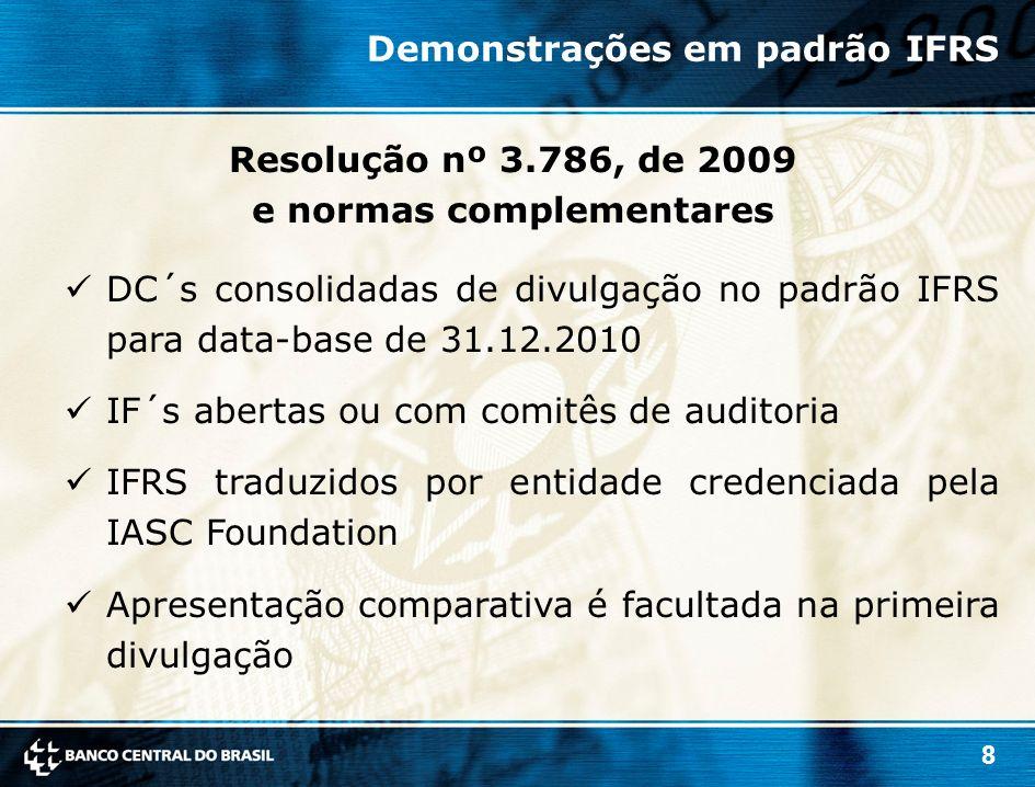 8 DC´s consolidadas de divulgação no padrão IFRS para data-base de 31.12.2010 IF´s abertas ou com comitês de auditoria IFRS traduzidos por entidade cr
