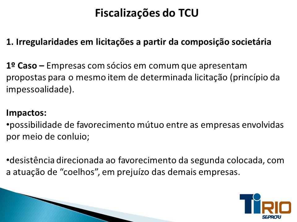 Fiscalizações do TCU 1. Irregularidades em licitações a partir da composição societária 1º Caso – Empresas com sócios em comum que apresentam proposta