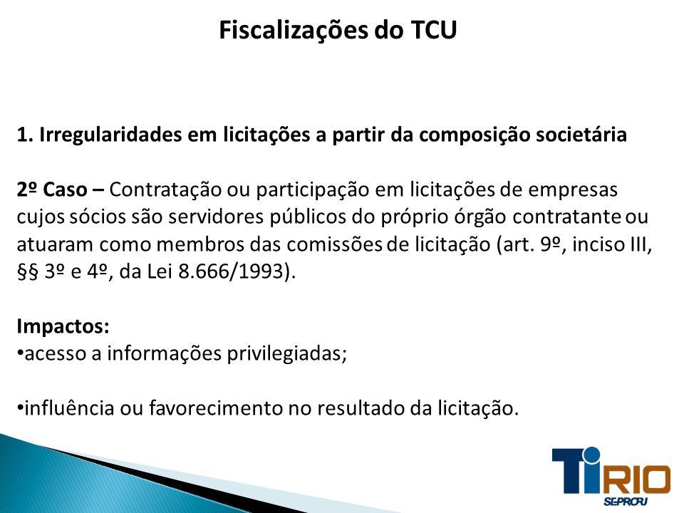 Fiscalizações do TCU 1. Irregularidades em licitações a partir da composição societária 2º Caso – Contratação ou participação em licitações de empresa