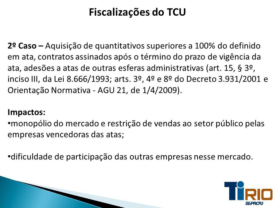 Fiscalizações do TCU 2º Caso – Aquisição de quantitativos superiores a 100% do definido em ata, contratos assinados após o término do prazo de vigênci