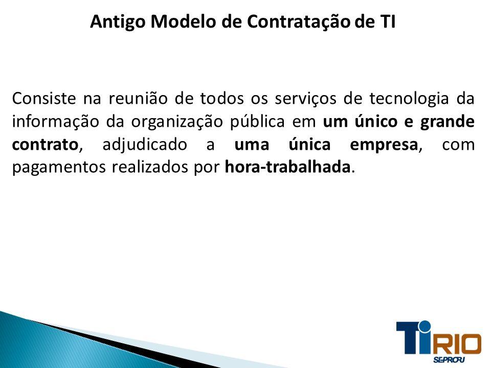 Antigo Modelo de Contratação de TI Consiste na reunião de todos os serviços de tecnologia da informação da organização pública em um único e grande co