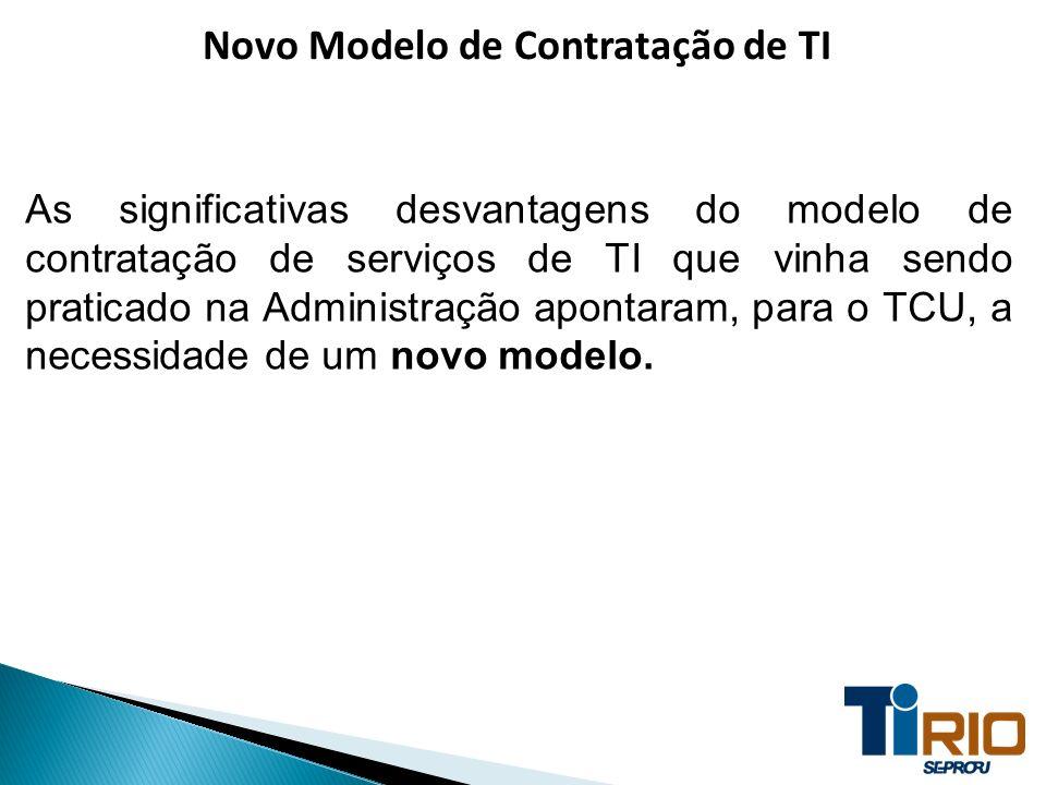 Novo Modelo de Contratação de TI As significativas desvantagens do modelo de contratação de serviços de TI que vinha sendo praticado na Administração