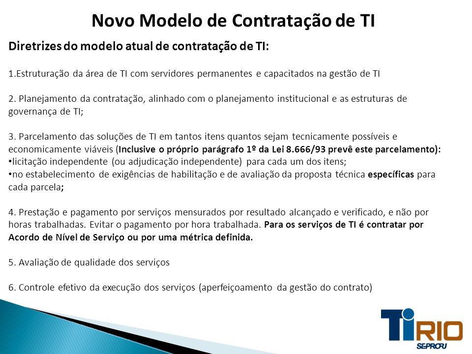 Novo Modelo de Contratação de TI Diretrizes do modelo atual de contratação de TI: 1.Estruturação da área de TI com servidores permanentes e capacitado