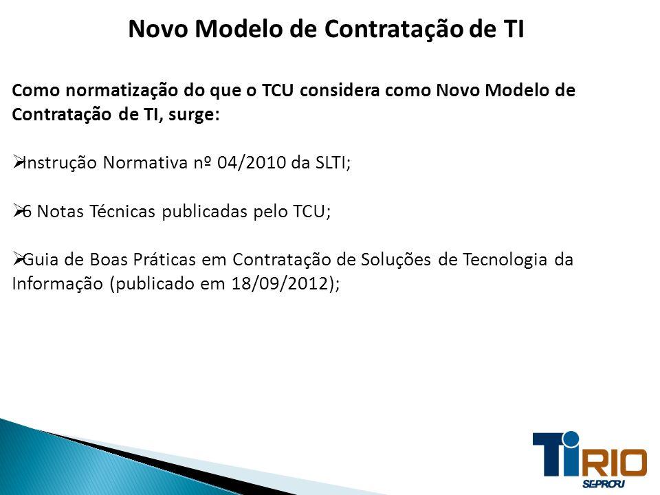 Novo Modelo de Contratação de TI Como normatização do que o TCU considera como Novo Modelo de Contratação de TI, surge: Instrução Normativa nº 04/2010