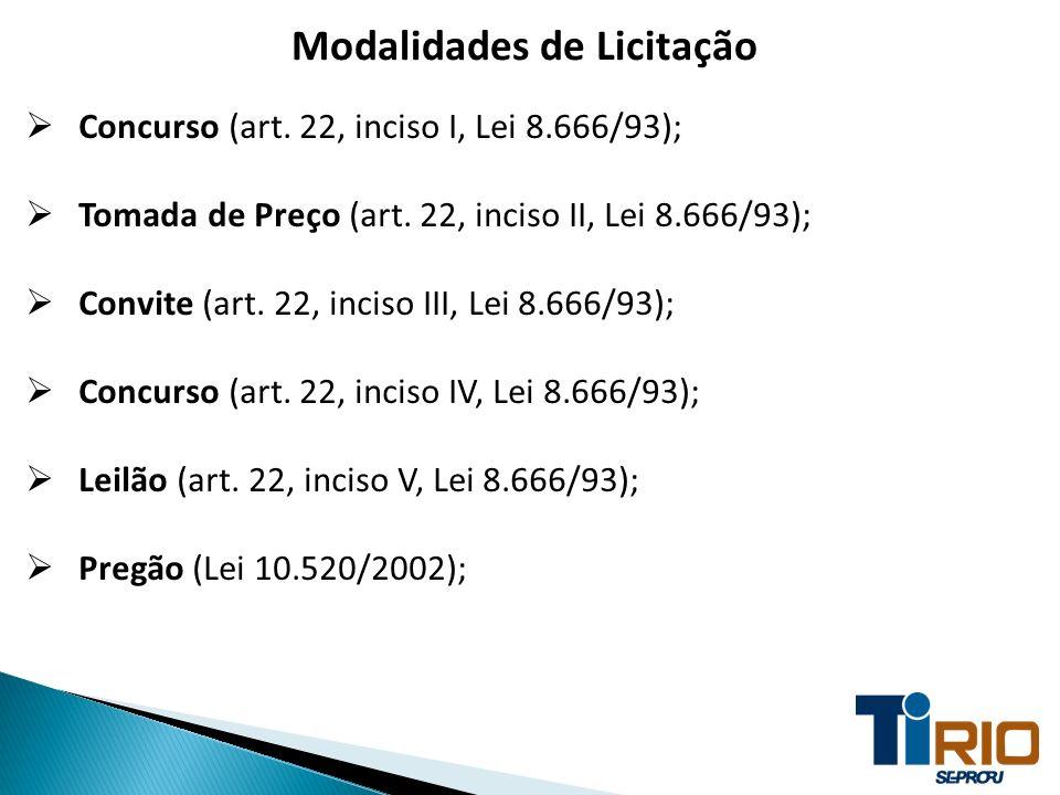 Modalidades de Licitação Concurso (art. 22, inciso I, Lei 8.666/93); Tomada de Preço (art. 22, inciso II, Lei 8.666/93); Convite (art. 22, inciso III,