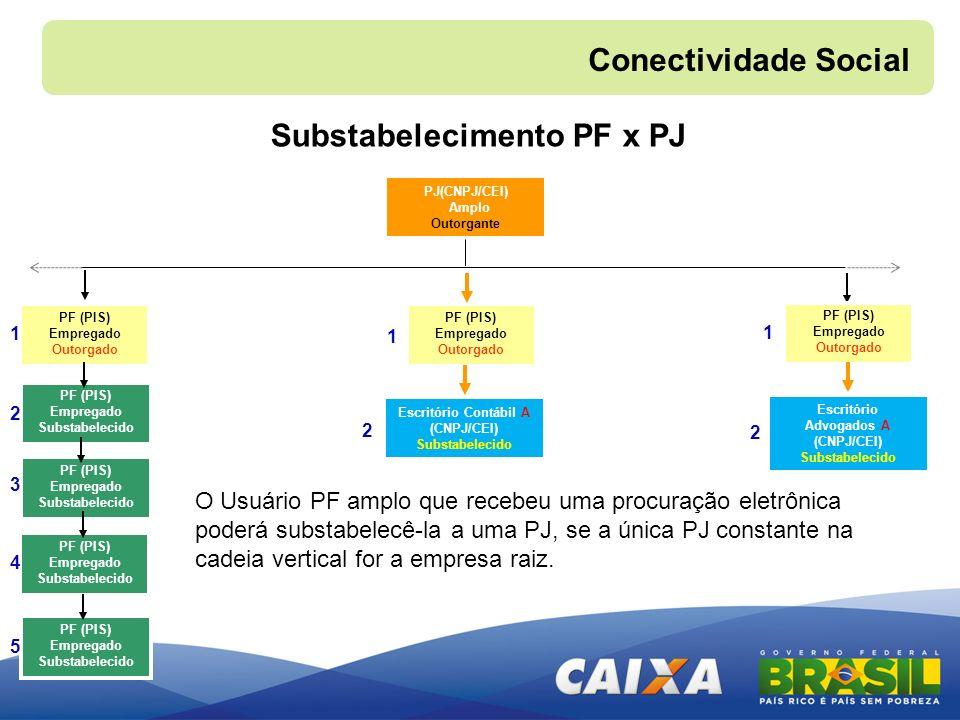 PJ(CNPJ/CEI) Amplo Outorgante O Usuário PF amplo que recebeu uma procuração eletrônica poderá substabelecê-la a uma PJ, se a única PJ constante na cad