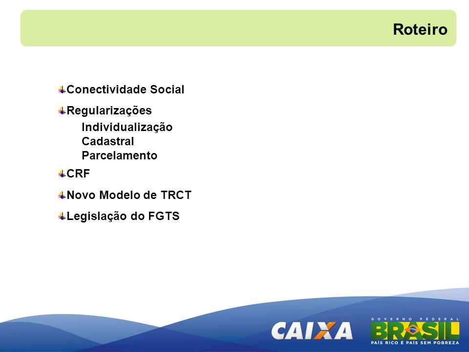 Conectividade Social Regularizações Individualização Cadastral Parcelamento CRF Novo Modelo de TRCT Legislação do FGTS Roteiro
