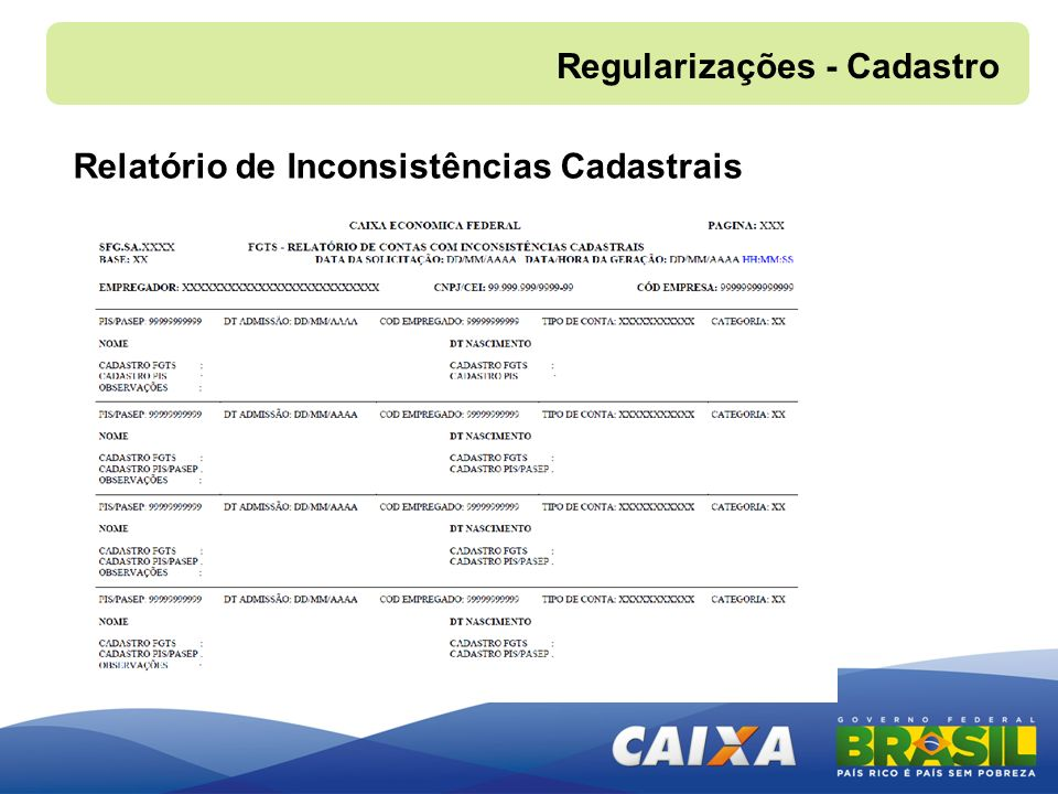 Regularizações - Cadastro Relatório de Inconsistências Cadastrais