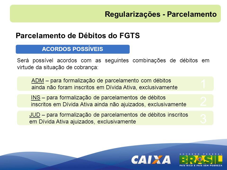 ACORDOS POSSÍVEIS Será possível acordos com as seguintes combinações de débitos em virtude da situação de cobrança: ADM – para formalização de parcela