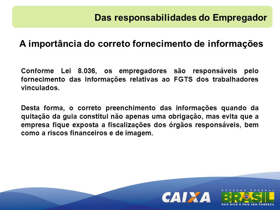 A importância do correto fornecimento de informações Conforme Lei 8.036, os empregadores são responsáveis pelo fornecimento das informações relativas